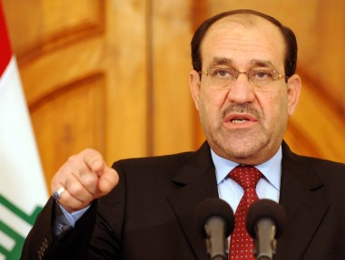 "Iraqi's Prime Minister Nuri al-Maliki speaks at a news conference in Baghdad April 19, 2010. Iraqi security forces backed by U.S. troops killed al Qaeda's top two leaders in Iraq in what the U.S. military described on Monday as a ""potentially devastating blow"" to the militant group. UPI/Iraqi Government/Handout"