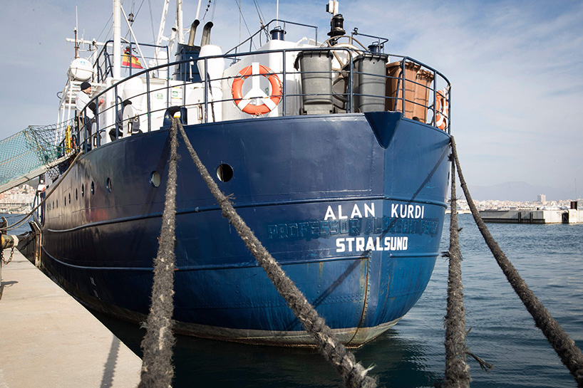 "A picture shows the Sea-Eye rescue ship named after Alan Kurdi during its inauguration in Palma de Mallorca on February 10,  2019. - The former research vessel ""Professor Albrecht Penck"" was rebaptised ""Alan Kurdi"", after the Syrian boy who was drowned during a ship wreck in the Mediterranean Sea. (Photo by JAIME REINA / AFP)"